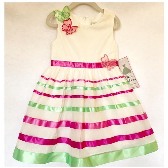 1870fbbe25 NWT Girls Pink Green Striped Dress Butterfly SZ 4